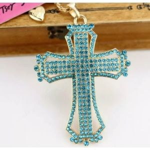 Betsey Johnson blue crystal cross necklace NWT